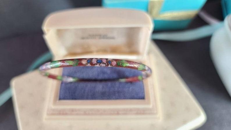 Cloisonne Desert Red Bangle Bracelet