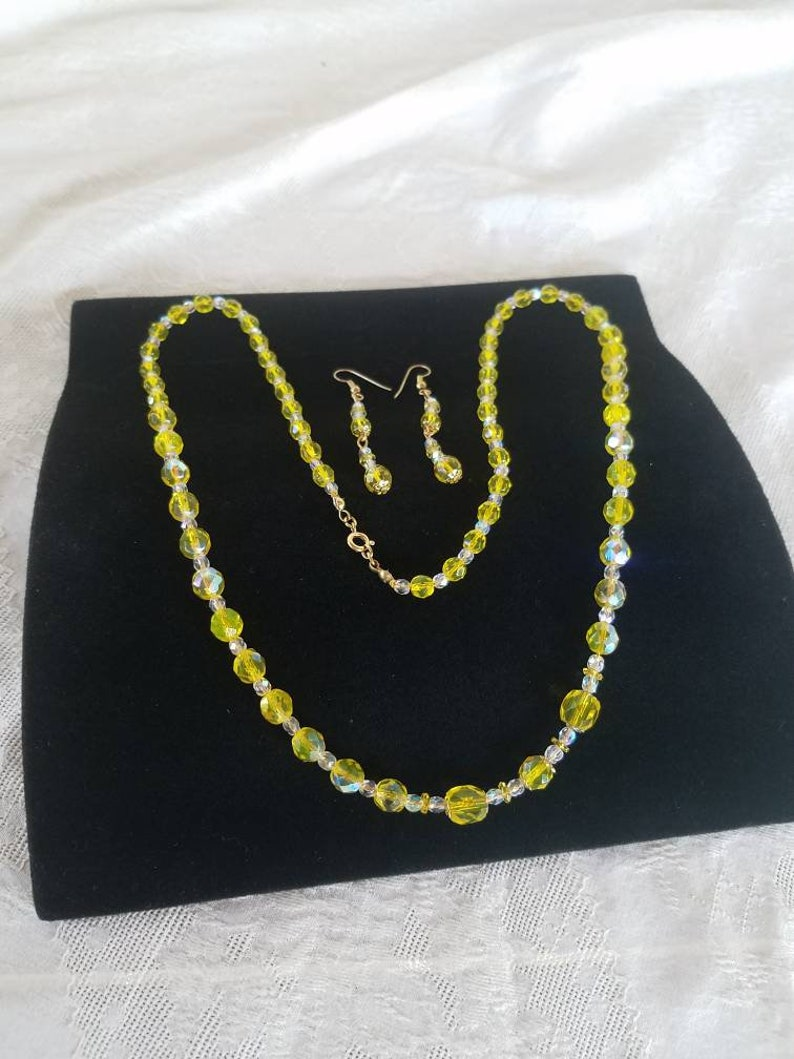 Vintage Costume Jewelry Vintage Yellow and Clear Beaded Jewelry Set Gifts for Her Necklace and Earrings Set