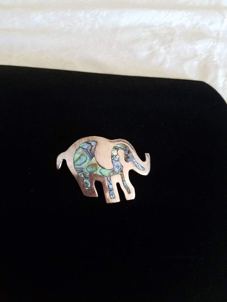 Vintage Silver and Shell Elephant Brooch-Mexico