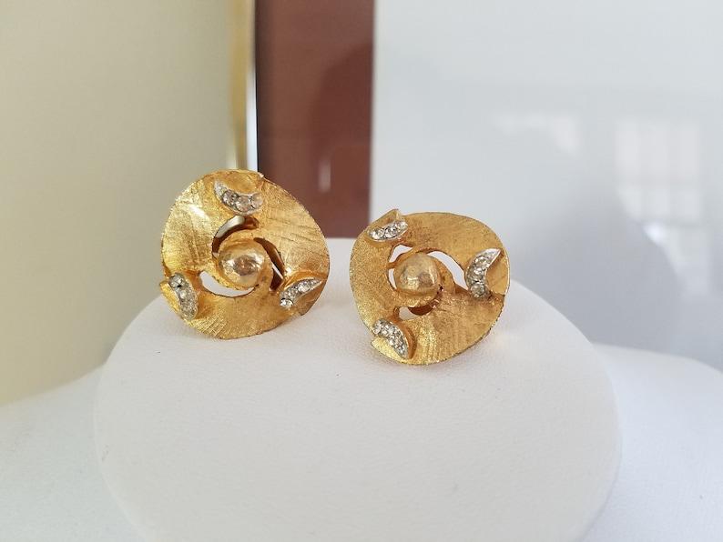 Gold Swirl with Crystal Rhinestones Vintage Clip-on Earrings B.S.N Marked Earrings