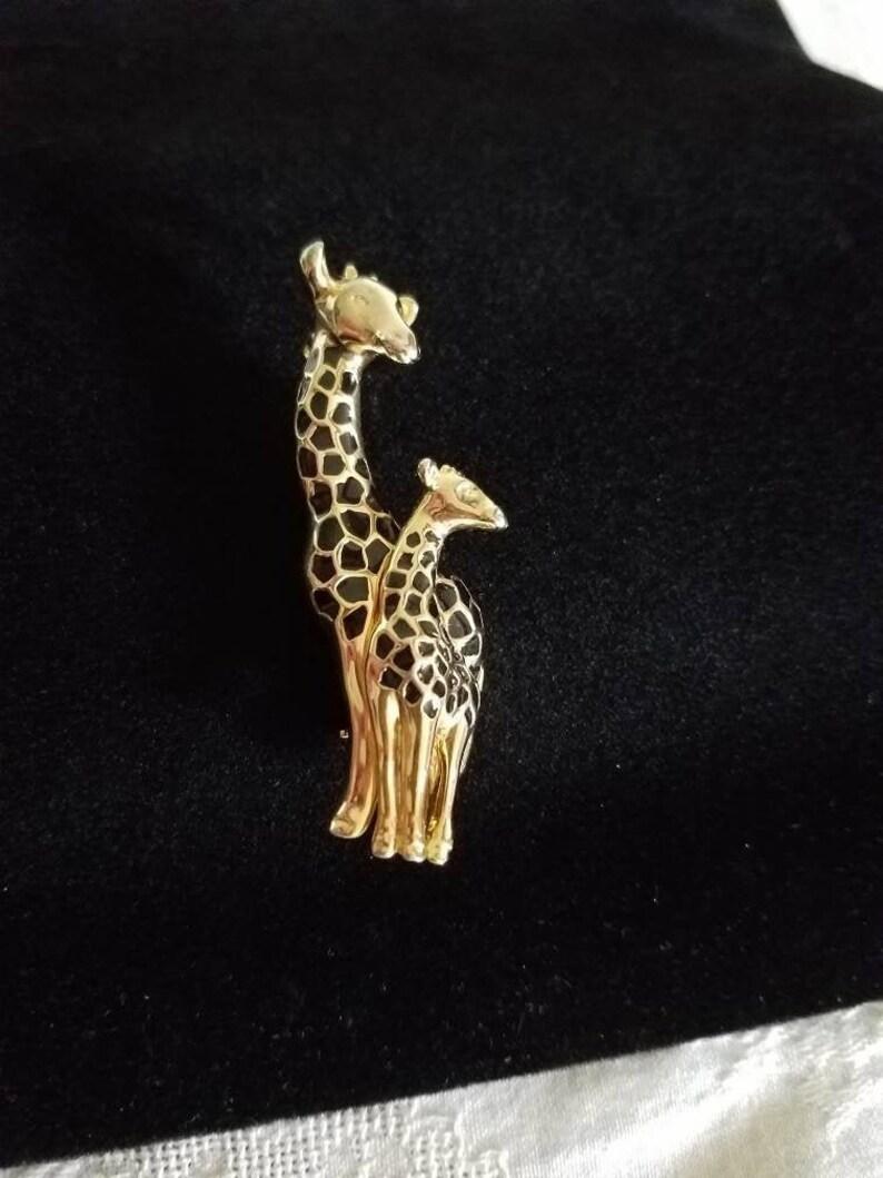 Mama and Baby Giraffe Brooch Vintage Costume Jewelry image 0