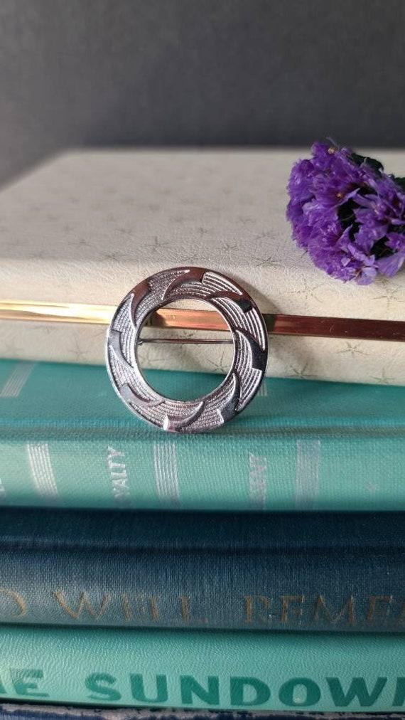 Vintage Silver Circular Brooch