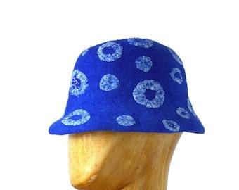 Hat Blue Felt Wool Ladies Artistic Wet Felted Hat Womens Blue Sea Hat for Lady Floppy Hat