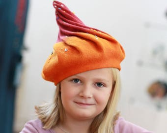 Hat Elf Felt Artistic Hat Gnome hat Wet Felted Wool Dwarfs Cap Gift for Girl Theatrical costume Magic Hat Hat for cheerful mom ice cream