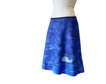 Blue Skirt Romantic Style Felted Wool Gift for daughter Skirt Sea Winter Wool Whale Animal Picture