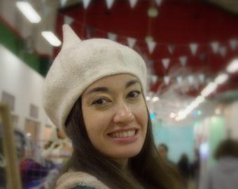 Elf White Hat Felt Wool Magic Hat Artistic Wet Felted Cap Womens Gift for Girl Theatrical costume