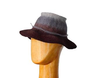 Hat Felt Wool Grey Brown Bucket Ladies Felted Panama for Lady Women's felt Fedora