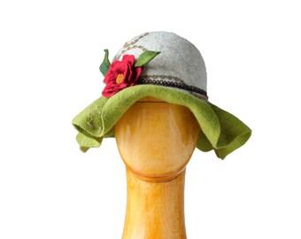 Fairy Hat Felt Wool Flower Nymph Ladies Felted Hat for Lady Women's felt hat  Theatrical costume