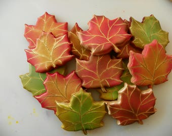 Decorated Maple Leaf Cookies