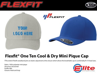 570109d1f8c052 FLEXFIT 110p, Fully Custom Embroidered Hat, Cool & Dry Pique Stretch Fit Hat,  Add your Logo Text or 3D Putt Text, Custom Printed Hat