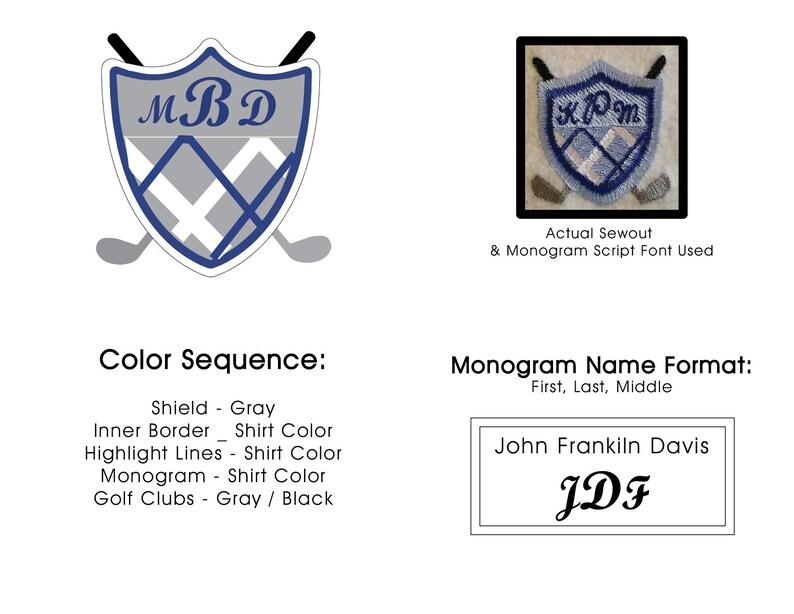 60cc7ae3 Personalized Golf Crest Monogrammed Polo Men's Custom | Etsy