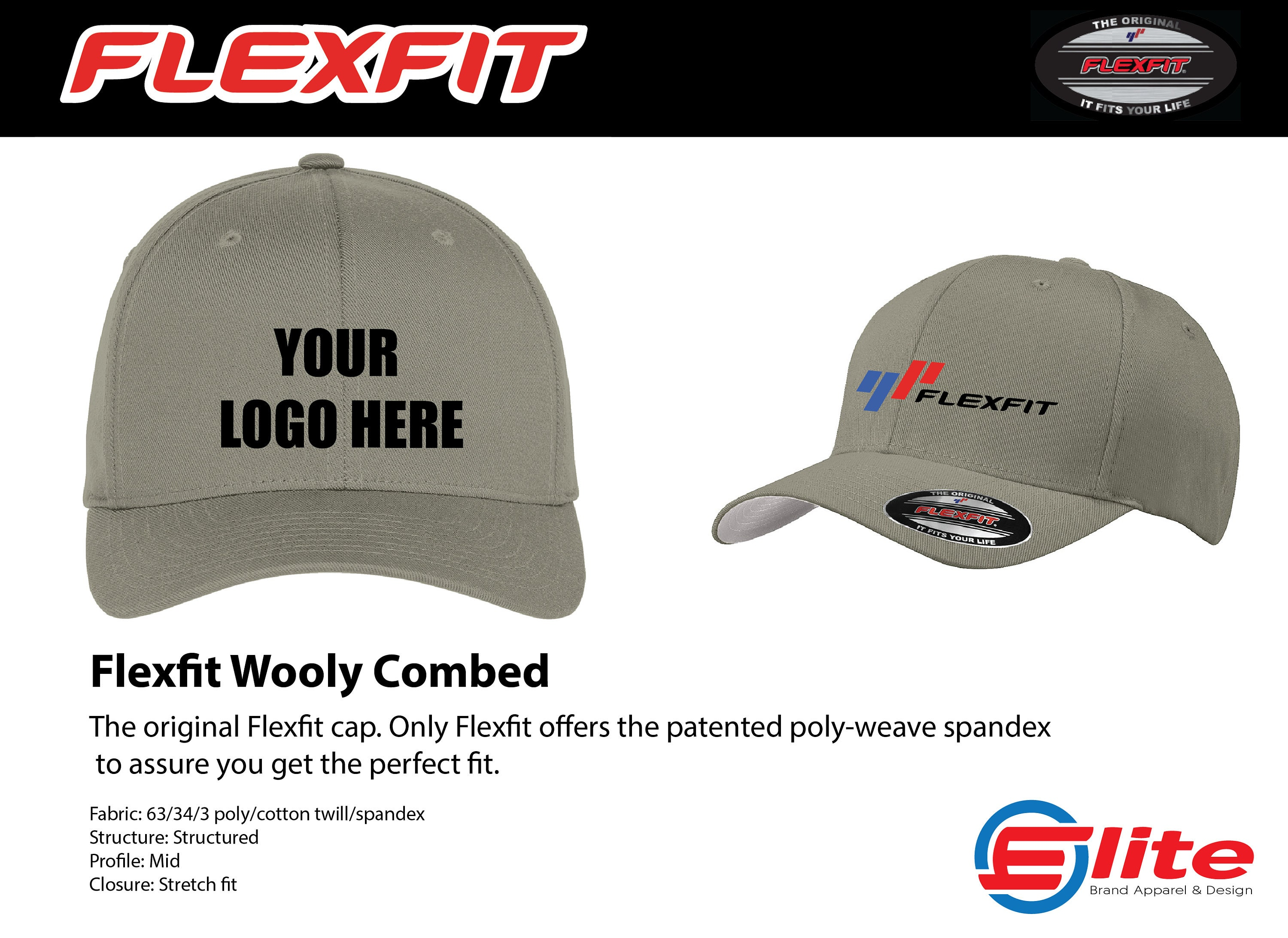 a7eefbfa6 Original FLEXFIT Custom FlexFit Hat Embroidered Hat | Etsy