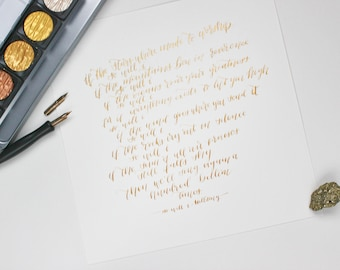 Semi-Custom Gold Calligraphy Print- Gold ink lettering, wall art, gold quote print hand lettering