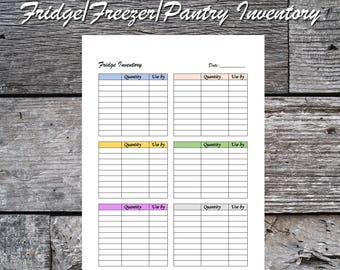 Printable Fridge Inventory, Printable Freezer Inventory, Printable Pantry Inventory, Instant Download, Letter Size, A4, A5