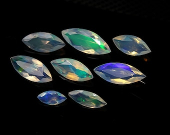 10 Pieces 3x6 mm Natural Ethiopian Welo Opal Marquise Cabochon Gemstone Calibrated Size Multifire Opal Loose Gemstone Marquise Opal