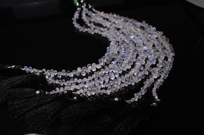 Rainbow Moonstone Teardrop Size 3X5 MM  To 5X8 MM Approx 8 Inches Long Rainbow moonstone drop Flashy blue fire Jewelry Rainbow @R22