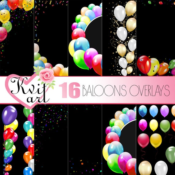 Balloon Overlays Set  Instant Download  Rainbow Clip Art  Diy Photo  Editing  Confetti Frame Border Decor  Transparent backgrounds  Baloons