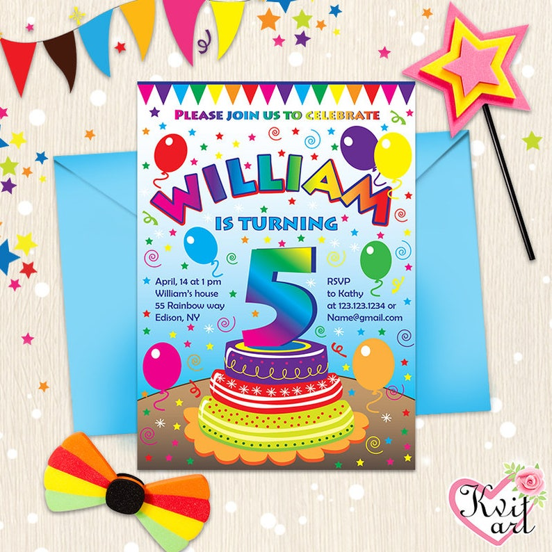 Birthday Party Kid Invitation Rainbow Kids