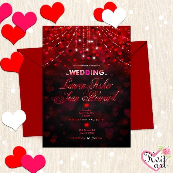 Valentine S Party Invitation Wedding Birthday Bridal Shower St Valentine Card Hearts Sparkling Confetti Invite Cute Red Black Any Event