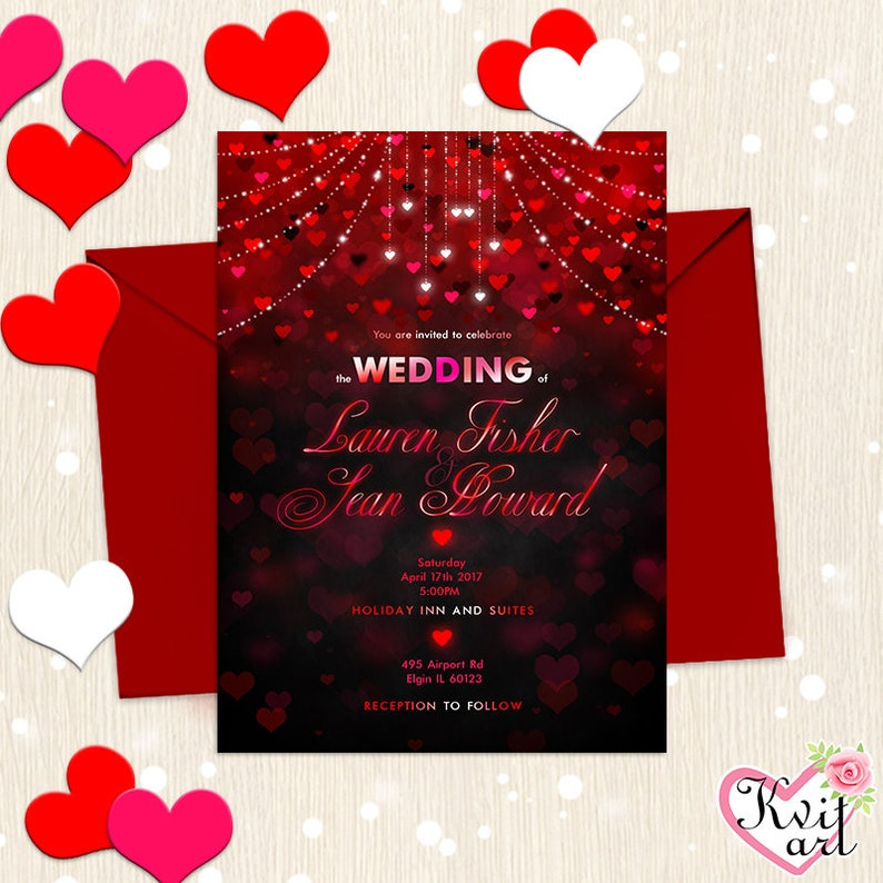Valentines Party Invitation Wedding Birthday Bridal Shower St Valentine Card Hearts Sparkling Confetti Invite Cute Red Black Any Event