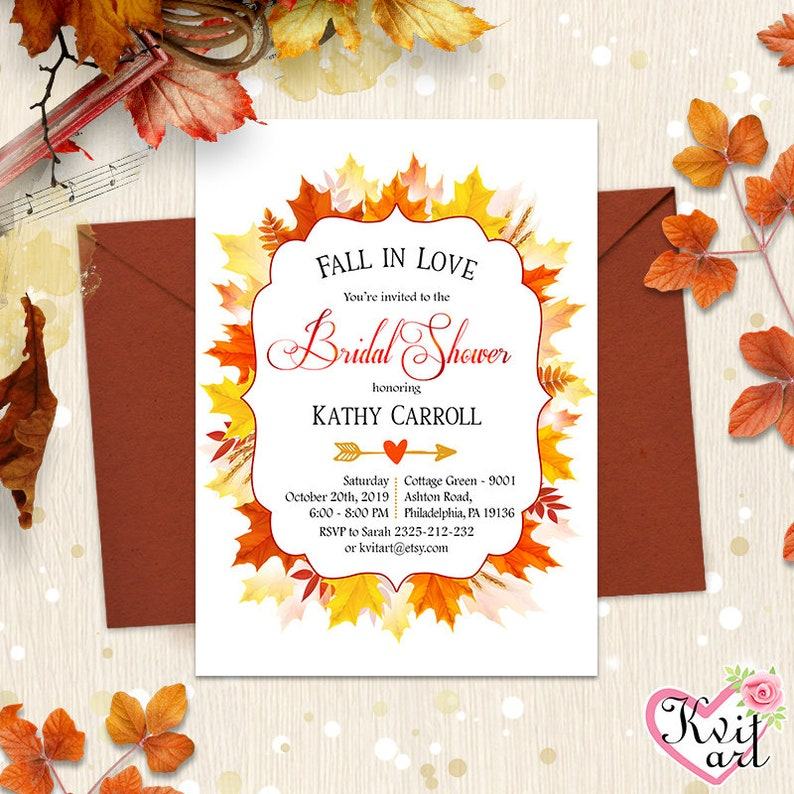 Fall in Love Rustic Card Autumn Wedding Birthday Invite Any Event Any Age Bahelorette Party Annual Anniversary Bridal Shower Invitation