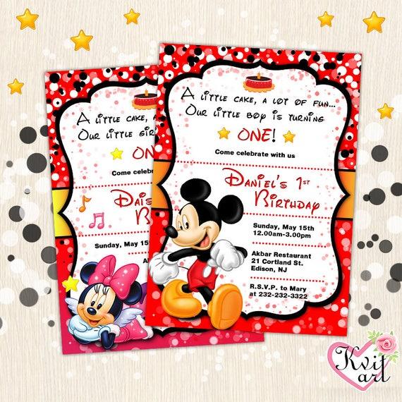 Mickey Mouse Birthday Kid Invitation Girls Boys Cake Party Etsy
