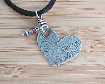 Silver Heart Necklace - Swarovski Crystal Necklace
