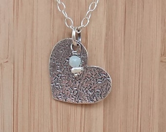 """Silver Necklace Heart - """"Share Love"""" - Amazonite and Pearl Silver Necklace"""