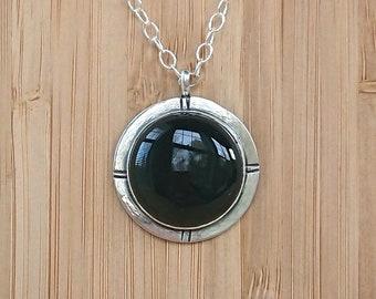 Onyx Pendant Necklace - Silver Gemstone necklace