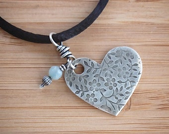 Silver Heart Necklace - Amazonite Necklace