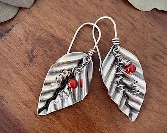 Leaf Earrings - Carnelian - Recycled Silver Earrings