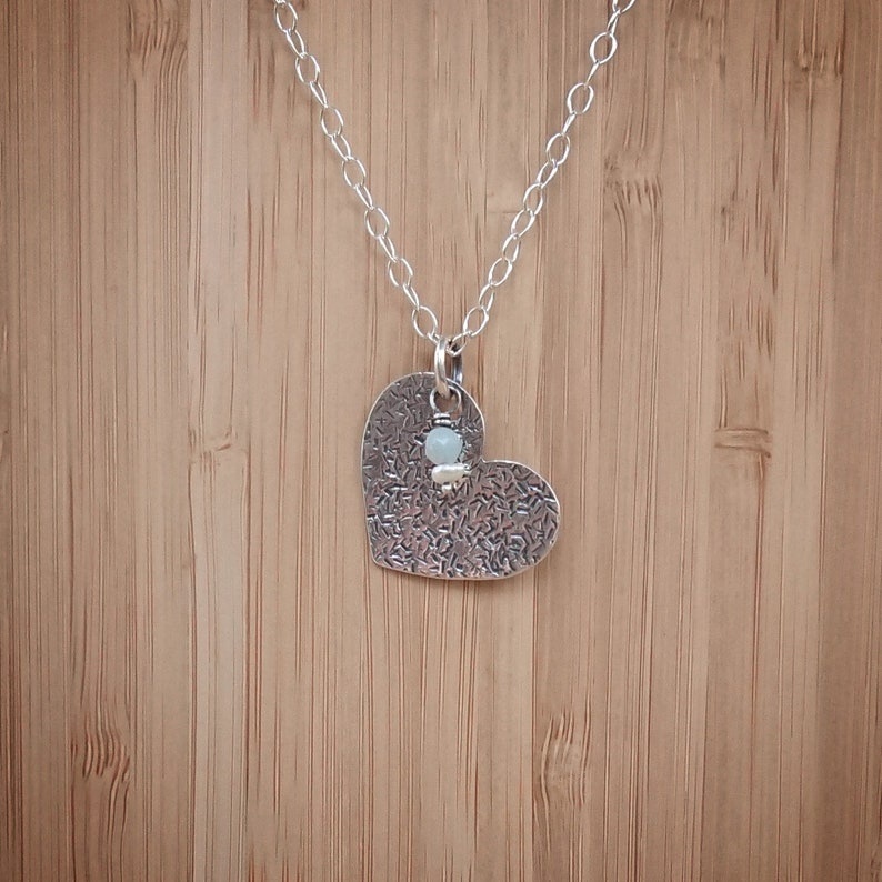 Silver Necklace Heart  Share Love  Amazonite and image 0
