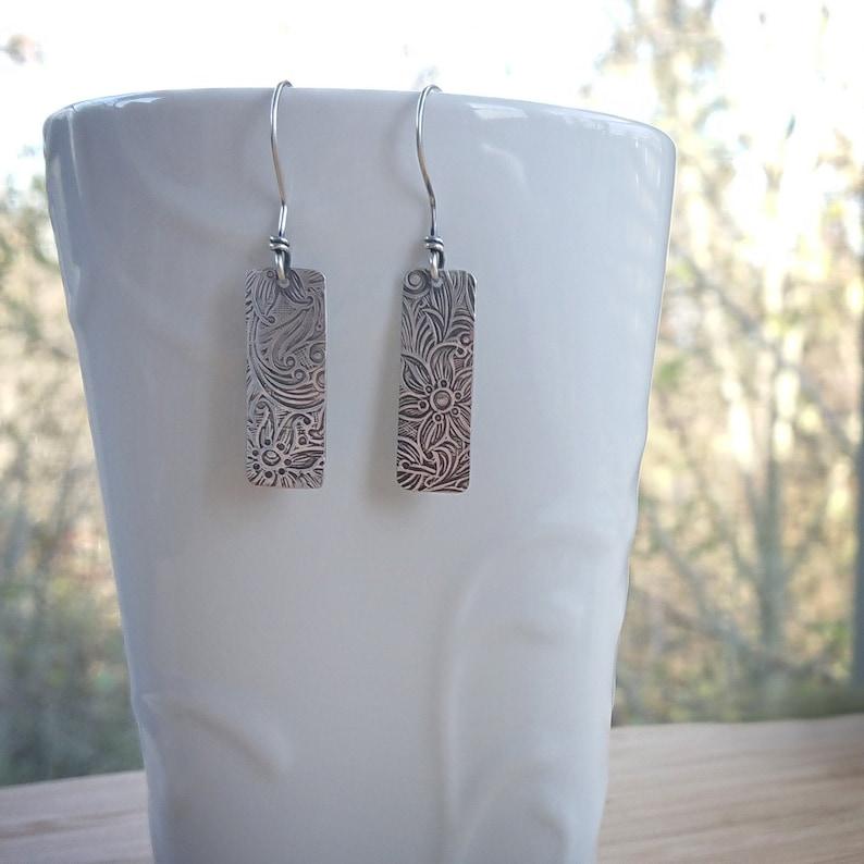 Recycled Silver Dangle Earrings  Floral Paisley Earrings image 0