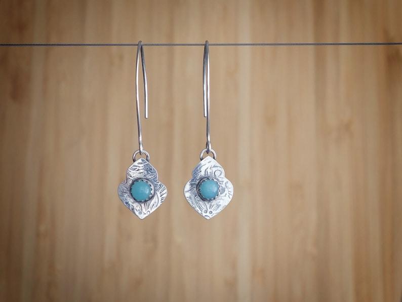 Silver Amazonite Earrings  True Heart Earrings  image 0