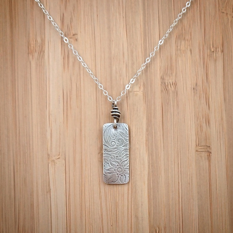 Silver Pendant Necklace  Recycled Silver Pendant  Floral image 0