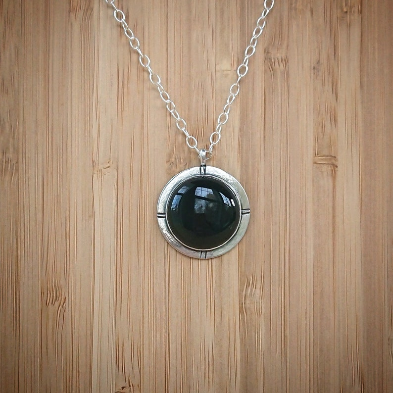 Onyx Pendant Necklace  Silver Gemstone necklace image 0