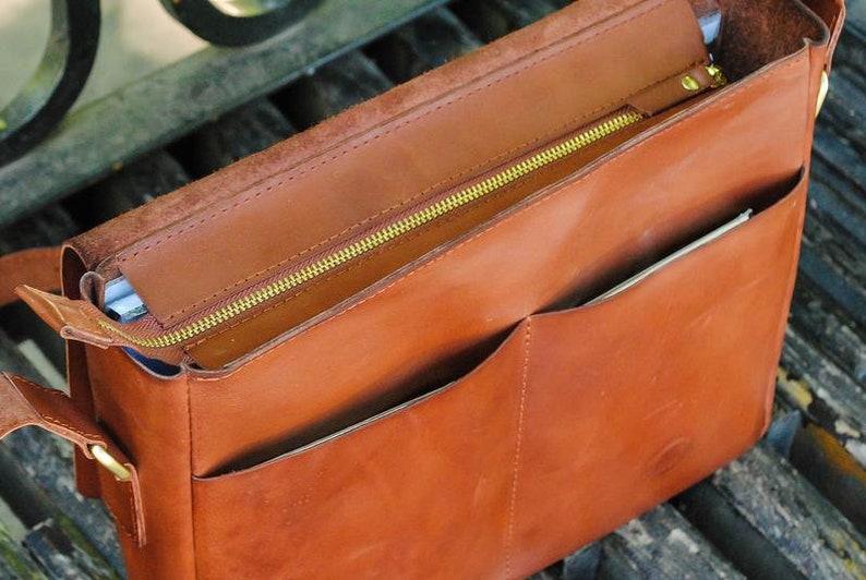 Leather briefcaseMessenger bagLeather mens bagbrown leather baghandmade bagleather laptop baggift for himgenuine leatherstylish