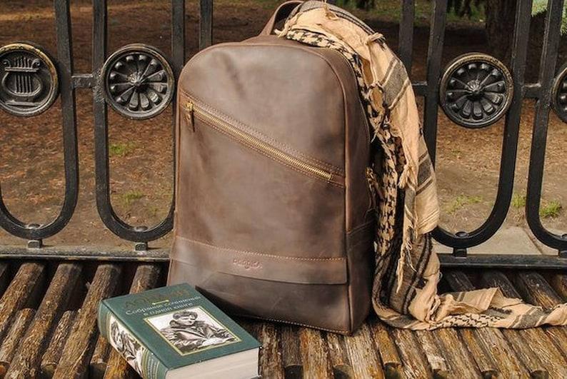 Leather backpackbrown backpackleather rucksackmens backpackunisexwomen backpackgift for himgenuine leatherschool backpackhandmade
