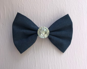 """Navy 5"""" Hair Bow with Shiny Button"""