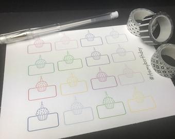 Cupcake Birthday Planner Stickers