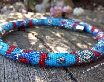 Original crochet bead necklace multicolor patchwork amazing gift for woman jewelry Birthday present