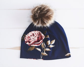 Tuque NON DOUBLÉE bleu marin roses romantiques tuque automne printemps  hiver pompon 7d7985bd89c