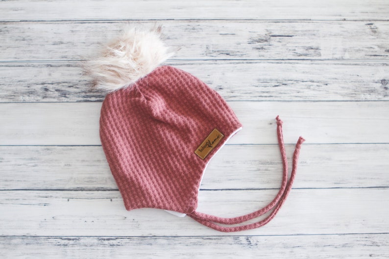 2ba80265f21 Double cable knit hat pink pale Pom Pom Beanie winter Hat