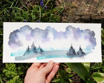 """original watercolor painting """"night forest landscape"""" 30 x 12 cm painting art wall stormy sky pine trees wanderlust misty night tree painting"""