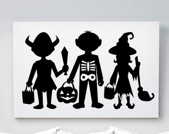 Halloween Kids Silhouettes | Horizontal Poster Wall Art, Multiple Sizes