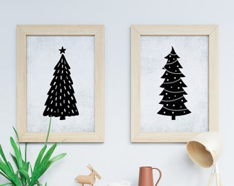 Set of Two Art Prints - Multiple Sizes - Printable Art - Instant Download - Quote Printable - Downloadable Art Print | Grunge Christmas Tree