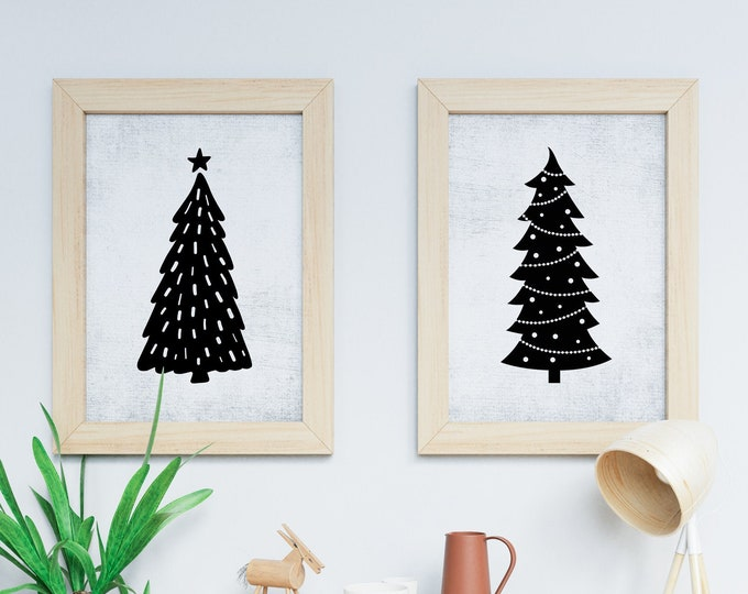 Featured listing image: Set of Two Art Prints - Multiple Sizes - Printable Art - Instant Download - Quote Printable - Downloadable Art Print | Grunge Christmas Tree