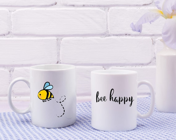 Motivational Mug | Quote Coffee Mug | Coffee Mug | Bee Happy Mug