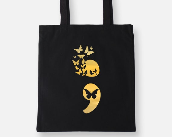 Suicide Awareness Semicolon | Gold Foil Lightweight Tote Bag, Shopping Bag