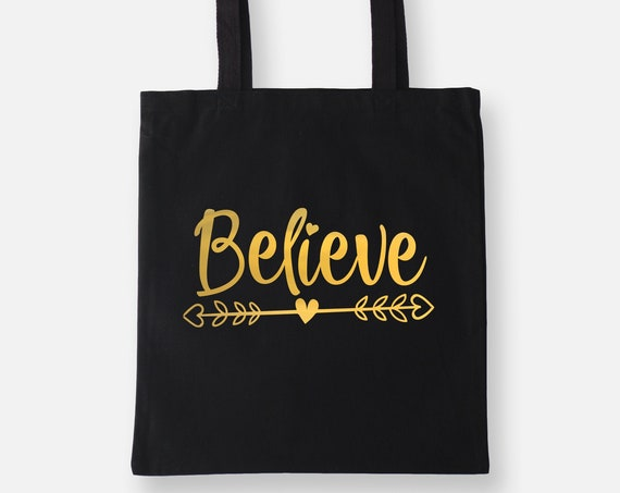 Believe | Gold Foil Lightweight Tote Bag, Shopping Bag